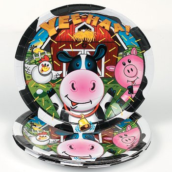 8 Cow Print Paper Plates - 9""