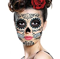 Sugar Skull Temporary Face Tattoo - All Black - Day of the Dead - Calavera - Halloween Costume by Savvi