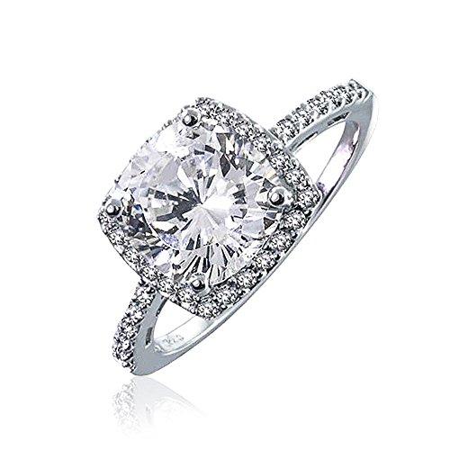 [ブリング・ジュエリー] Bling Jewelry ヴィンテージスタイルスターリングシルバークッションカットCZ婚約指輪 [インポート]
