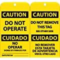 """NMC RPT152G """"CAUTION - DO NOT OPERATE"""" Bilingual Accident Prevention Tag with Brass Grommet, Unrippable Vinyl, 3"""" Length, 6"""" Height, Black on Yellow (Pack of 25)"""