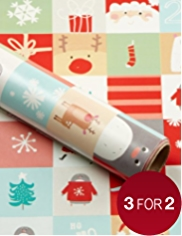 Extra-Long Festive Characters Christmas Wrapping Paper - 8m