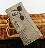 Grey lady girl Disney long Mickey bifold clutch Mouse Wallet PU purse
