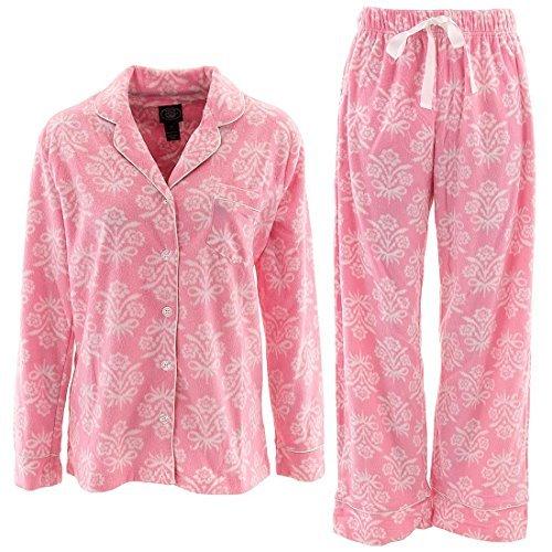 laura-ashley-womens-s-xl-pink-damask-fleece-pajamas-m