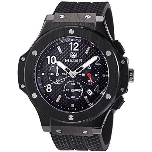 VOEONS Men's Black Silicone Sport Watch With Chronograph