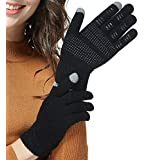 LETHMIK Mens&Womens Non-Slip Touchscreen Gloves Winter Warm Knit Wool Lined Texting Glove ,Womens Size (Superior Elasticity),Black (Silicone Non Slip Grip)