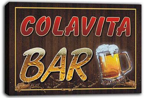 scw3-053071-colavita-name-home-bar-pub-beer-mugs-stretched-canvas-print-sign