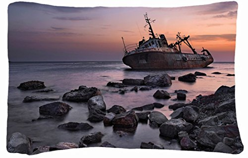 Microfiber Peach Standard Soft And Silky Decorative Pillow Case (20 * 26 Inch) - Landscapes Sunset Sea Stones Ship front-861943
