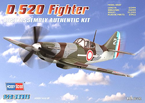 Hobby Boss D.520 Fighter Airplane Model Building Kit, 1/72 Scale