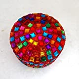 Decorative Box Handmade Antique Indian Gift Home Decor Pill Box Table Top Lac Beaded Material Jewelry Box