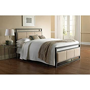 Fashion Bed Group B71606 Danville Complete Bed with Metal Duo Panels and Buckwheat Upholstery, Coffee Finish, King Size