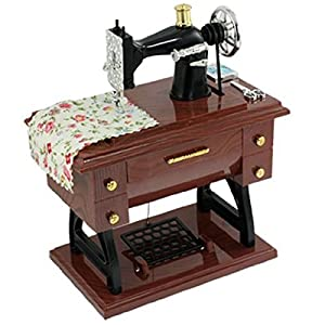 FreshGadgetz Vintage Mini Sewing Machine Style Plastic Music Box Table Desk Decoration Toy Gift for Kid Children from FreshGadgetz