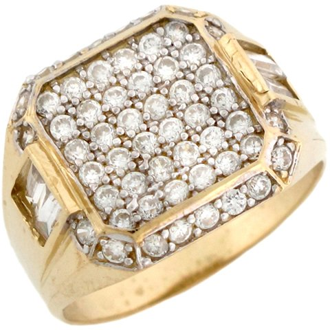 9ct Solid Yellow Gold Large Square Mens Fashion Cluster Ring