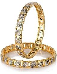 Awww Precious American Diamond Gold Plated Bangle Jewellery For Women & Girls Set Of 2