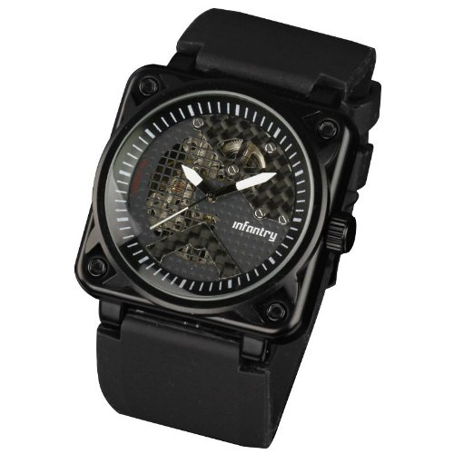 INFANTRY Men's Black Dial Hand-Wind Up Semi Automatic Mechanical Wrist Watch Luxury Stainless CaseSport Rubber Strap #IN-023-MC-R