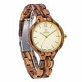 フーポット 木製腕時計 天然木 ウッドウォッチ ブランド 高品質 彫刻 ユニセックス カジュアル 人気ファション腕時計 人気 贈り物 誕生日プレゼント (イエロー(レディース))