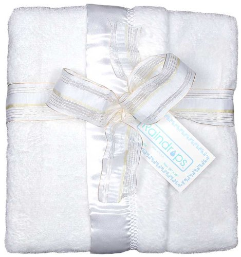 Raindrops Flurr Receiving Blanket, White