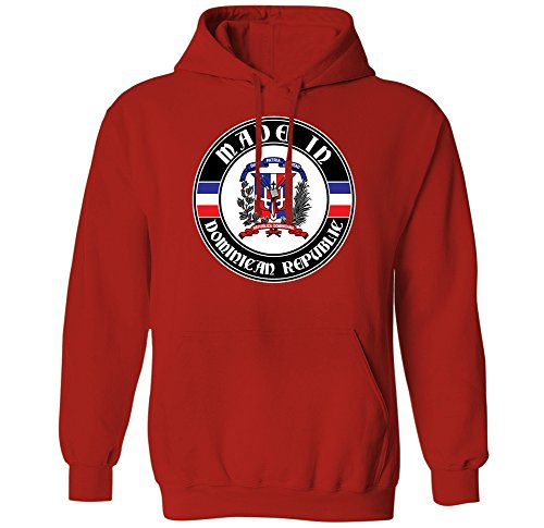 Made In Dominican Republic Coat of Arms Emblem Badge Mens Hoodie Sweatshirt (Red, Medium) (Made In Dominican Republic compare prices)