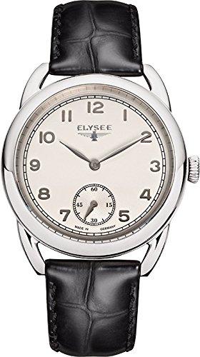Elysee Vintage Lady Femme 36mm Noir Cuir Bracelet Minéral Verre Montre 80540
