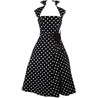 Chicstar Vintage Design Polka Dot High Collar Swing Dress - 6 Black
