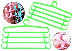 HOKIPO 2 Pieces 4-Bar Trouser Saree Clothing Hangers with Accessory Hooks (Green)
