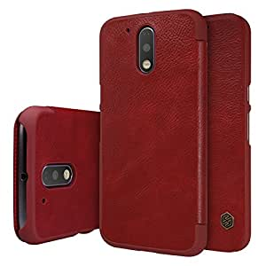 Nillkin QIN Series Luxury Royal Leather Bumper Flip Case Cover Wallet for Motorola MOTO G4 Plus(4th Generation) - Red