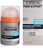 Loreal Paris Men Experts White Active Power 4 Whitening Moisturiser 50 ml (Made In Indonesia) With Free Ayur Sunscreen 50 ml