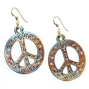 Filigree Iridescent Peace Symbol Earrings on French Hooks