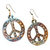 Filigree Iridescent Peace Symbol Earrings on French Hooks