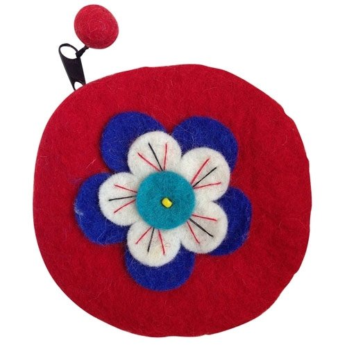 Sitara Collections® Felted Wool Round Red Flower Coin Purse