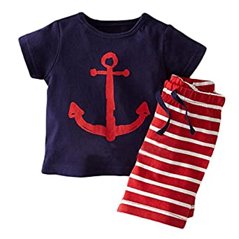 Baby Toddler Kids Boys Sailor Suit Casual Tops T-shirt Pants Outfits set