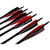 """Best-selling Black Archery 31"""" Carbon Fiber Hunting/Targeting Arrows Fletching 5"""" Black & Red Peltate Shape True Feathers With Replacement Screw-in Field Points"""