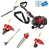 NEW TRUESHOPPING® 33CC 'TOTAL GARDENERX5' PETROL LONG REACH MULTI FUNCTION 5 IN1 GARDEN TOOL INCLUDING