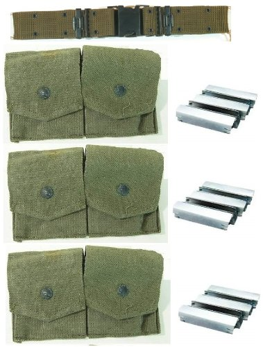 Ultimate Arms Gear Pack Of 3 Military Ammo Od Olive Drab Green Canvas Pouch Surplus Fits Mosin Nagant M38 M44 91/30 1891 91 30 7.62X54 Cartridge Clips Ammunition Rounds Dual Pouches With Adjustable Snap-Flap Covers + Pack Of 15 Reusable Steel Stripper Cli