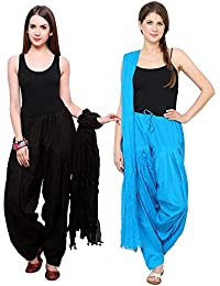Mango People Products Patiala Salwars And Dupatta Set Combo(Free Size,Black & Sky Blue By Mango People Products)