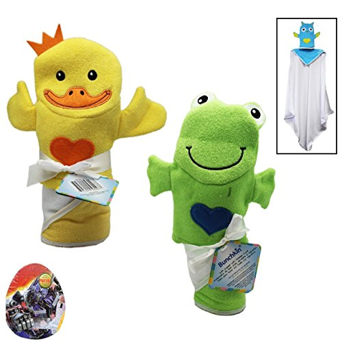 """2-Pack Baby Bath Sets: Hooded Baby Towels (30""""X30"""") And Bath Puppet Wash Mitten With Licensed Character Egg Shaped Puzzle (8""""X7"""" Assorted) (Neutral - Frog & Duck)"""