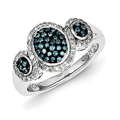 Sterling Silver Blue Rough Diamond Triple Opal Shape Ring - Ring Size Options Range: L to P