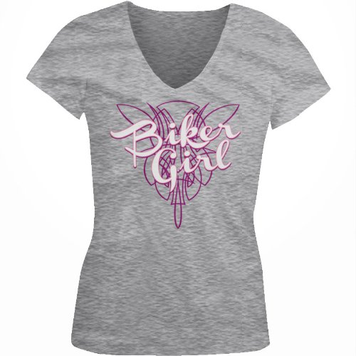 Biker Girl Ladies Junior Fit V-neck T-shirt, Biker Girl Pinstripe Design Junior's V-Neck Tee (Sport Grey, X-Large)