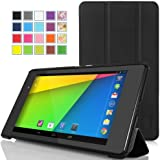 MoKo Google New Nexus 7 FHD 2nd Gen Case - Ultra Slim Lightweight Smart-shell Stand Cover Case for Google Nexus 2 7.0 Inch 2013 Generation Android 4.3 Tablet, BLACK (With Smart Cover Auto Wake / Sleep Feature)