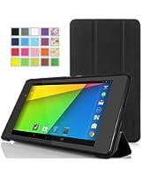 MoKo Google New Nexus 2013 7.0インチケース - MoKo Google New Nexus 2013 7.0インチタブレット専用開閉式三つ折薄型スタンドケース。BLACK (オートスリープ機能付き)