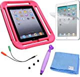 IPad Case for Kids - with All Around Shock Absorbant Handles - Bumper to Keep Your iPad 2 3 4 Safe when Handled by Children + Stylus for Kids with 3 Replacement Tips - Screen Protector - Cleaning Cloth - Lifetime Warranty (Hot Pink)