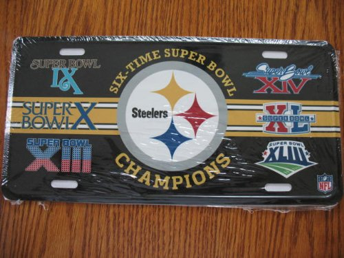 Pittsburgh Steelers 6 Times Super Bowl Champions License Plate Picture