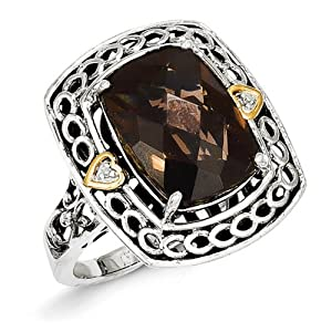 IceCarats Designer Jewelry Size 7 Sterling Silver W/14K Diamond Smokey Quartz Ring