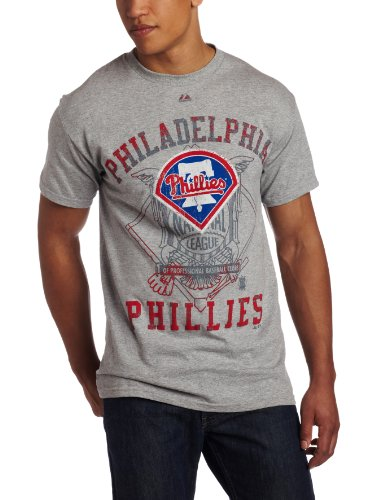 MLB Men's Philadelphia Phillies Concentration Short Sleeve Basic Tee (Steel Heather, Medium) at Amazon.com