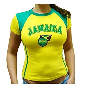 Buy BLOWOUT SALE - CLEARANCE SALE -STRETCH FIT AND SEXY Jamaica Juniors, LADIES,WOMEN,GIRLS Soccer Jersey, Jamaican Futbol... by RASS