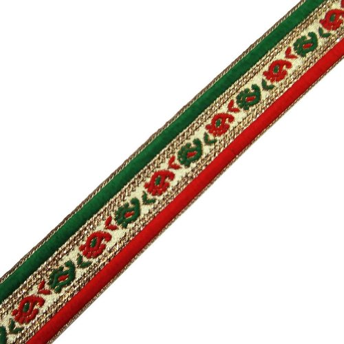 Red Green Metallic Ribbon Trim Sequin Embroidered Women Border Lace Craft India 3Yd