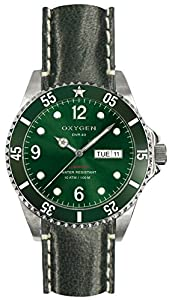 OXYGEN Campo 40 unisex quartz Watch with green Dial analogue Display and green leather Strap EX-D-CAM-40-CL-GN