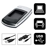 Invero USB Slim Camera Charger + Car Charger for Panasonic Lumix DMC-FX12
