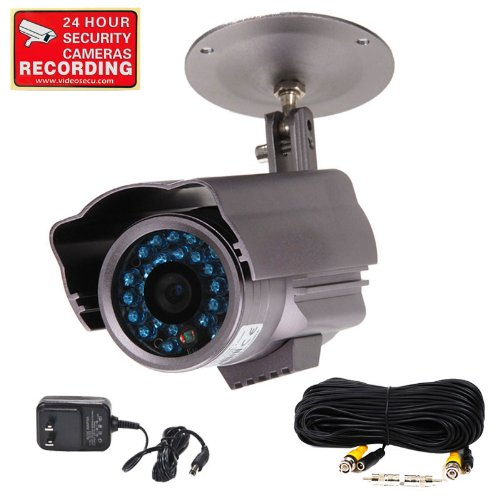 """Videosecu Bullet Security Camera Day Night Vision Infrared Outdoor Built-In 1/3"""" Sony Ccd Weatherproof 26 Ir Leds Surveillance Camera For Cctv Dvr Home Surveillance System With Power Supply, Extension Cable And Free Security Warning Decal 1Of"""