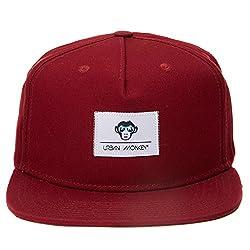 Urban Monkey Premium Dark Red (Rich) Label Adjustable Baseball Snapback Free Size Unisex Hip Hop Cap