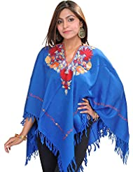 Exotic India Poncho From Kashmir With Ari Hand-Embroidery On Neck - B00SQXKZB2